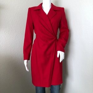Vintage Byblos Coat Tailored Wrap Wool Red Italy